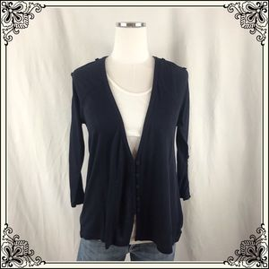 Anthro Postmark Navy Open Sleeve Cardigan #2533